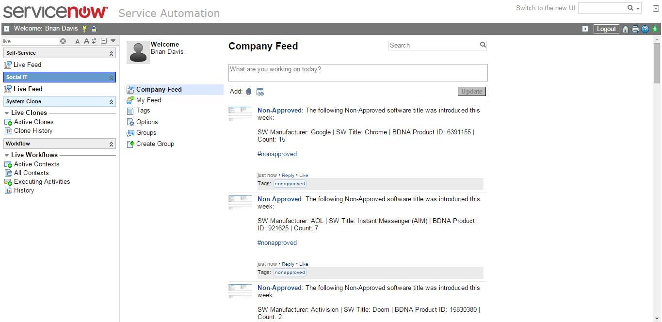 Inventory: Auto-Posting Events to ServiceNow Live Feed